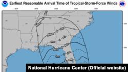 Hurricane Irma location and wind speed, Sep. 10, 2017