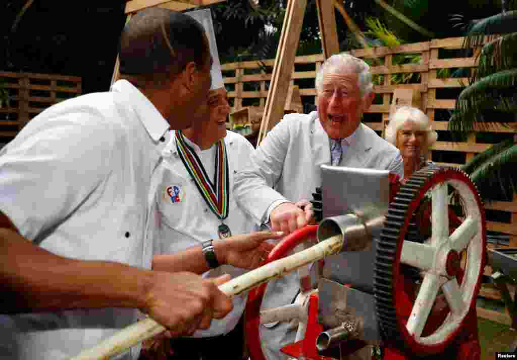 Britain's Prince Charles presses sugar cane to make juice during a visit to a paladar, a private restaurant, in Havana, Cuba.