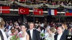 美国盐湖城举行的一次集体婚礼
