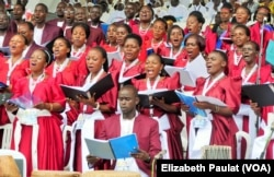The choir mixed Catholic hymns with traditional Ugandan songs throughout the event, in Namugongo, Uganda, Nov. 28, 2015.