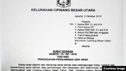 Surat Edaran Kelurahan Cipinang Besar Utara, Jakarta Timur