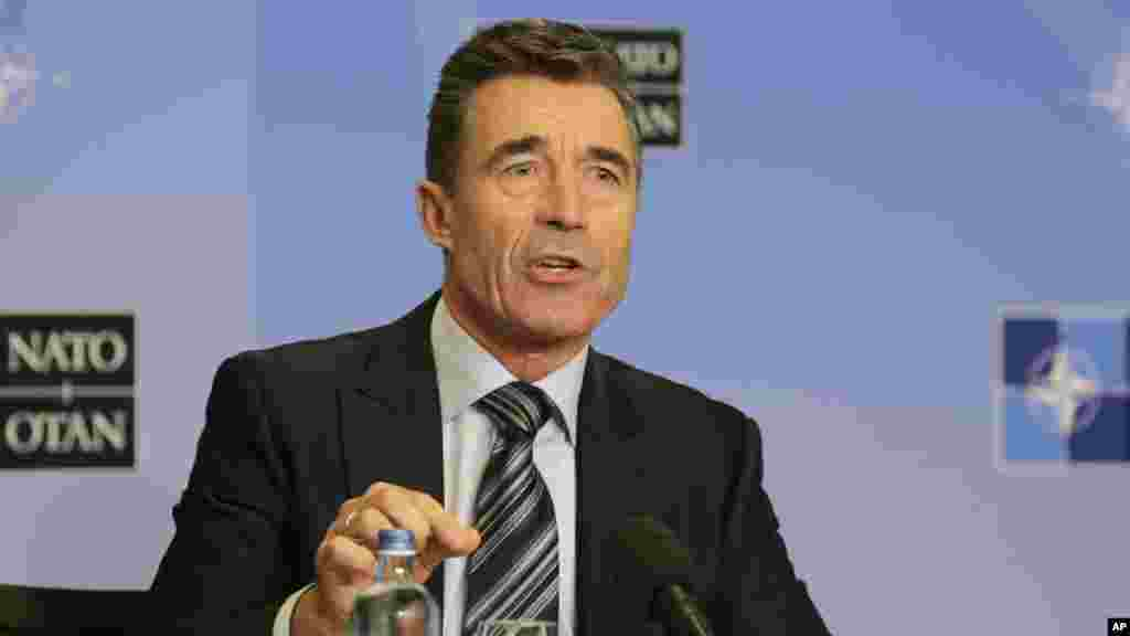 Russia and Ukraine will be the top story this week when NATO heads of state attend the NATO summit in Wales, starting Wednesday. NATO Secretary General Anders Fogh Rasmussen addresses the media ahead of the NATO summit in Wales, at the Residence Palace in