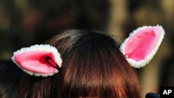 A girl wears bunny ears at a temple fair at the Temple of the Earth on the eve of the Lunar New Year in Beijing, February 2, 2011.