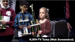 Five-year-old Edith Fuller is the youngest person ever to qualify for the Scripps National Spelling Bee (KJRH-TV Tulsa video screengrab)