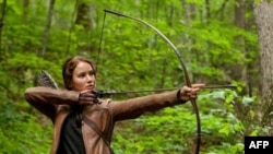 "Jennifer Lawrence as Katniss Everdeen in ""'The Hunger Games"""