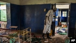 The tuberculosis ward at Malakal Teaching Hospital, South Sudan, Tuesday, July 1, 2014, where many of the murdered people were getting treatment. The hospital has been looted. Patients were shot in their hospital beds, medical and humanitarian staff killed, and medical facilities were destroyed in fighting.(AP Photo/Matthew Abbort)