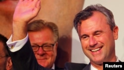 FILE - Presidential candidate Norbert Hofer of the Austrian Freedom Party (FPOe) waves to supporters after the Austrian presidential election in Vienna, May 22, 2016.