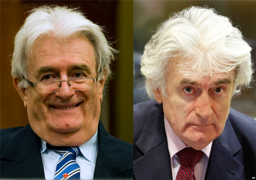 Bức ảnh cho thấy sự thay đổi khá rõ rệt về ngoại hình ông Radovan Karadzic tại thời điểm ngày 16 tháng 10 năm 2012 (trái) so với lúc ông dự một phiên xét xử trước đó vào tháng 11 năm 2009.