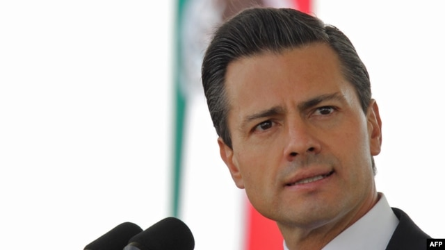 FILE- Mexican President Enrique Pena Nieto speaks during the ceremony of the National Flag day in Frontera city, Coahuila state, Mexico, Feb. 24, 2014.  (Photo credit: Presidencia / Julio Cesar Hernandez / Handout)