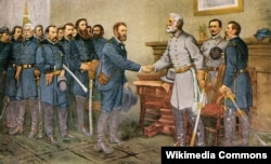 Robert E. Lee surrenders to Ulysses S. Grant at Appomattox Court Hous. Reproduction of a painting by Thomas Nast