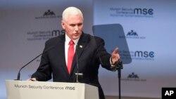 ဂ်ာမနီႏို္င္ငံ၊ ျမဴးနစ္ၿမိဳ႕က လံုၿခံဳေရးဆုိင္ရာညီလာခံမွာ အေမရိကန္ ဒု-သမၼတ Mike Pence မိန္႔ခြန္းေခၽြစဥ္။ (ေဖေဖၚဝါရီ ၁၆၊ ၂၀၁၉)