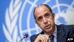 聯合國北韓人權狀況特別報告員托馬斯·奧赫亞·金塔納 在聯合國會議上講話。 (資料圖片)