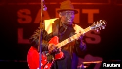 Blues singer Lucky Peterson plays the guitar on stage at the Saint Louis jazz festival in Saint-Louis, Senegal, June 8, 2014.