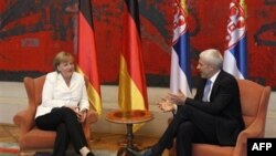 Nemačka kancelarka u razgovoru sa predsednikom Srbije u Palati federacije na Novom Beogradu