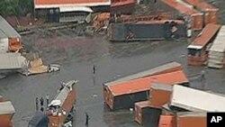 Trucks damaged by a tornado in Lancaster, Texas, March 3, 2012.