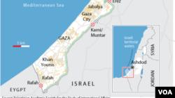 Peta wilayah jalur Gaza dan perbatasannya (Foto: dok).