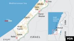 Peta jalur perbatasan Gaza (Foto: dok).