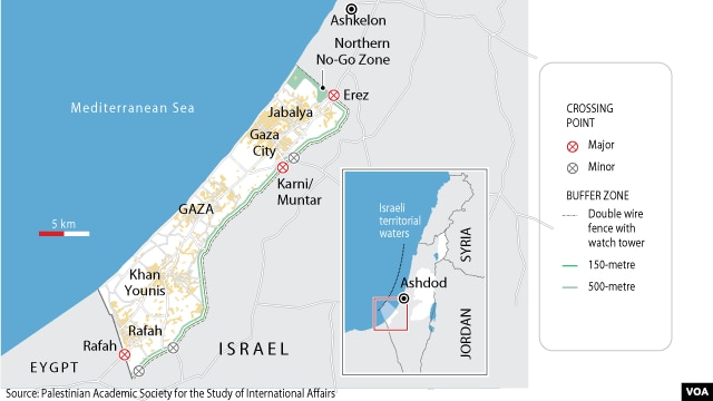 Map of Gaza with border crossings