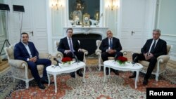 Bulgarian Prime Minister Boyko Borissov (2nd R) poses for a picture with Serbian President Aleksandar Vucic, Greek Prime Minister Alexis Tsipras (L) and Romanian Prime Minister Mihai Tudose (R) in Euxinograd residence, near Varna, Bulgaria, Oct. 3, 2017.