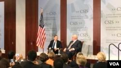 美国贸易代表罗伯特·莱特希泽周一在战略与国际研究中心发表演讲时说世贸组织争端解决机制不足以解决中国规模巨大的重商主义行为。(VOA 萧洵摄影)