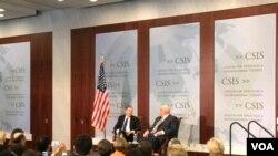 美國貿易代表希特萊澤周一在戰略與國際研究中心發表演講時說世貿組織爭端解決機制不足以解決中國規模巨大的重商主義行為。(VOA 蕭洵攝影)