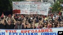 希臘示威者參加由當地工會發動的抗議