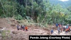 Kondisi di lokasi tanah longsor di Sempor, Kebumen (Foto: Pemda Jateng)