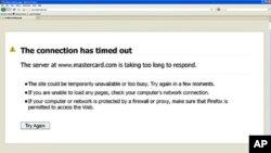 萬事達信用卡公司(MasterCard)在星期三被黑客攻擊後網站出現的告示