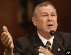 FILE - Rep. Dana Rohrabacher, R-Calif., testifies on Capitol Hill in Washington.