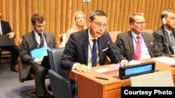 14일 열린 유엔총회 제1위원회 5차 회의에서 얀 후앙 유엔주재 프랑스대표부 군축대사가 북한의 핵과 탄도미사일 개발을 비난했다.