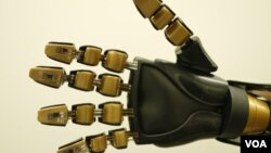 FILE - Model robotic hand with artificial mechanoreceptors, undated. (Courtesy: Bao Research Group, Stanford University).