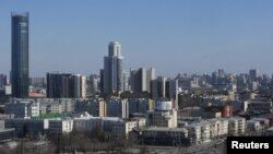 A general view shows the city of Yekaterinburg, Russia, April 14, 2018. Russian investigative journalist Maxim Borodin died after falling from a balcony at his Yekaterinburg apartment.