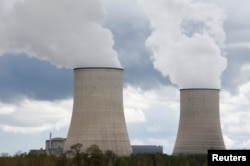 View of the cooling towers at the Golfech nuclear plant on the edge of the Garonne river between Agen and Toulouse, France, April 7, 2019.