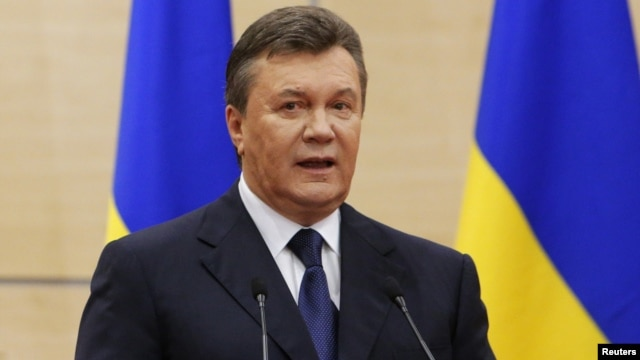 Ousted Ukrainian President Viktor Yanukovych makes a statement during a news conference in the Russian southern city of Rostov-on-Don, March 11, 2014.
