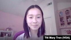 Alexandra Huynh (Huỳnh Thụy An), Khôi Nguyên Thi Ca Quốc Gia Mỹ gốc Việt khi phỏng vấn trực tuyến với VOATiengviet. (Titi Mary Tran/VOA Vietnamese)