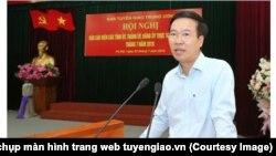 Võ Văn Thưởng, trưởng ban Tuyên giáo Trung Ương, phát biểu tại một hội nghị của ban ở Hà Nội hôm 5/7/2019. (Ảnh chụp màn hình trang web tuyengiao.vn)