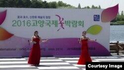 탈북민들 출신 예술인들로 구성된 '임진강 예술단'이 지난 4월 19일부터 5월 15일까지 열린 고양국제꽃박람회에서 공연하고 있다.