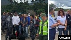 Funcionarios de la cancillería colombiana los recibió en Cúcuta, Colombia,en coordinación con la Cruz Roja.