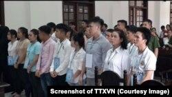 15 người bị kết án từ 8 đến 18 tháng tù vì tham gia biểu tình chống dự luật Đặc khu và An ninh mạng ở Đồng Nai. (Ảnh chụp màn hình TTXVN)