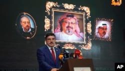 Yasin Aktay, penasihat Presiden Recep Tayyip Erdogan, dalam peringatan 40 hari meninggalnya Jamal Khashoggi, 11 November 2018.