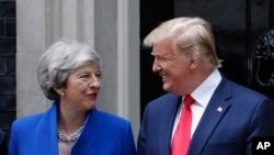 美國總統特朗普和英國首相特蕾莎.梅2019年6月4日在倫敦唐寧街10號合影。