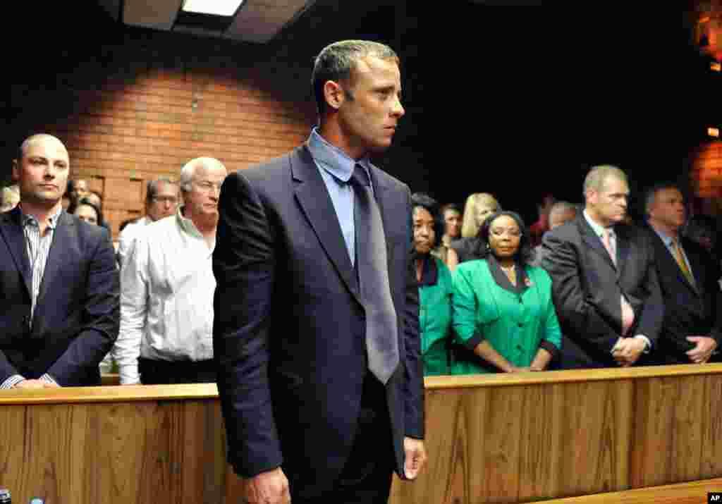 Oscar Pistorius following his bail hearing in Pretoria, South Africa, February 19, 2013. The magistrate ruled that Pistorius faces the harshest bail requirements available under South African law.