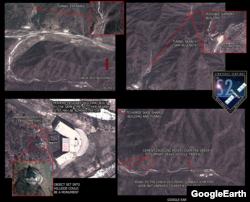 미사일 기지로 추정되는 금창리 일대의 모습. 아래 왼쪽 사진은 지휘본부로 추정되는 건물이 나타나 있고, 오른쪽은 조립 및 관측 시설과 사일로로 연결되는 6미터 폭의 도로가 보인다. S2제공.