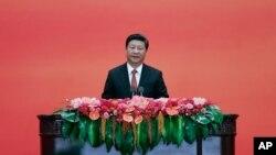 3일 중국 시진핑 중국 국가주석이 전승절 70주년 기념 연회에서 연설하고 있다.