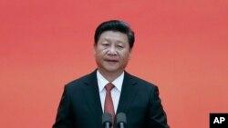3일 중국 시진핑 중국 국가주석이 전승절 70주년 기념 환영 연회에서 연설하고 있다.