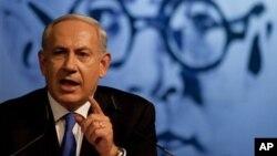 Perdana Menteri Israel Benyamin Netanyahu berpidato di depan anggota partai Likud di Tel Aviv, Israel (6/5).