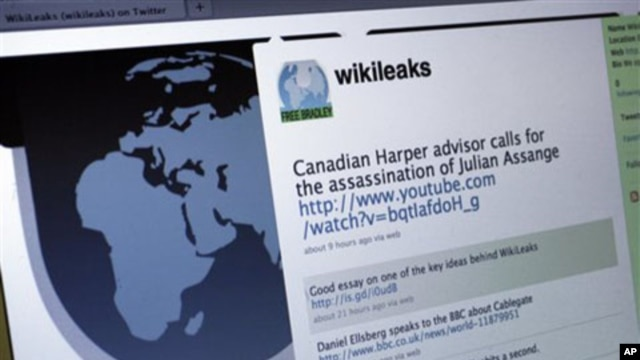 The Twitter homepage of Wikileaks (file photo)