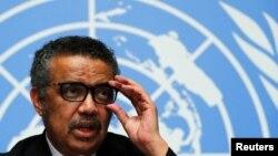 Darekta Janar na Hukumar Lafiya ta Duniya, WHO, Dr. Tedros Adhanom Ghebreyesus a wani taro da ya halarta a birnin Geneva