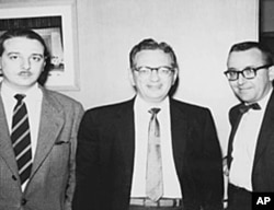 Tahir Sur, (r) worked for the VOA in Washington in 1950-1960's, Lawrence Berk (c), the founder of the Berklee School (now College) of Music, Arif Mardin (l).