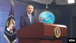 کنفرانس خبری باراک اوباما در وزارت دفاع آمریکا.